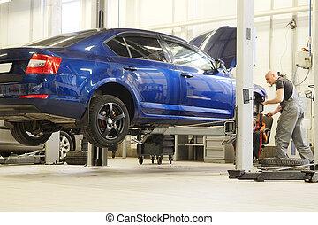bilen reparerar, butik