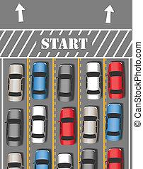 bilerne, start, rejse, trafik, tur