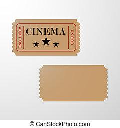 bilet, kino, ticket., czysty