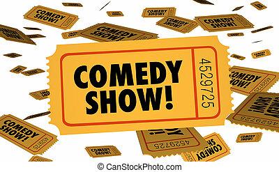 bilet, podnieść się, pokaz, ilustracja, komedia, wstęp, 3d