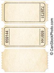 bilet, set., papier, bilet, stubs, odizolowany, na białym,...