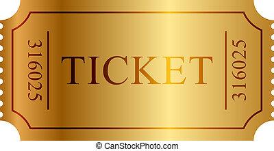bilet, wektor, ilustracja, złoty