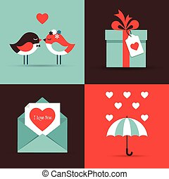 bilety, dzień, miłość, powitanie, valentine