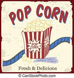 bilety, film, afisz, pas, popcorn, film