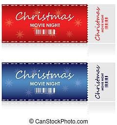 bilety, film, boże narodzenie, szczególny, noc
