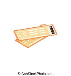 bilety, isometric, ikona, 3d, pociąg