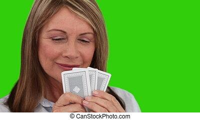 bilety, kobieta, interpretacja, starszy