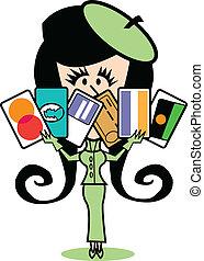 bilety, kredyt, dziewczyna, sztuka, zacisk