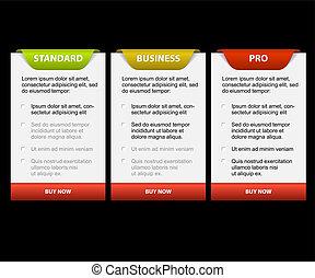 bilety, porównanie, produkt, wektor, versions