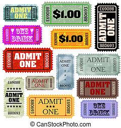 bilety, style, różny, set., eps, szablon, 8