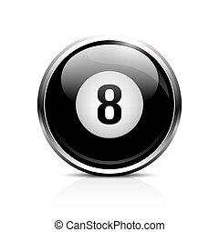 bilhar, oito bola, ícone