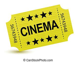 bilhete, amarela, ilustração, cinema