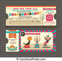 bilhete, aniversário, estilo, cartão