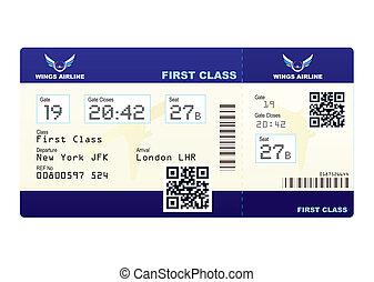 bilhete, código, avião, qr