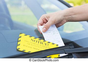bilhete, estacionamento
