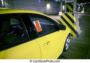 bilhete estacionamento, ligado, car