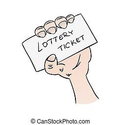 bilhete, loteria, mão