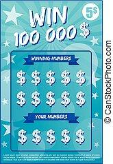 bilhete, loteria, scratchoff