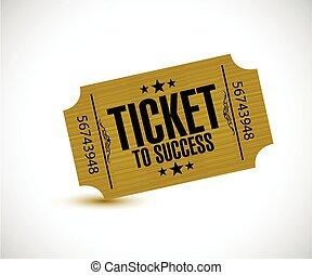 bilhete, para, sucesso, conceito, ilustração
