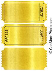 bilhete, set., dourado, bilhete, stubs, jogo, isolado,...