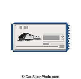 bilhete, trem, rapidamente, ícone