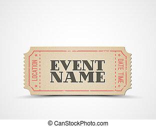 bilhete, vetorial, evento, modelo, seu