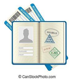 bilhetes, abertos, linha aérea, passaporte, estrangeiro