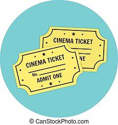 bilhetes, apartamento, cinema, símbolo, cinematography, vetorial, retro, icon.