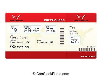 bilhetes, avião, classe, primeiro