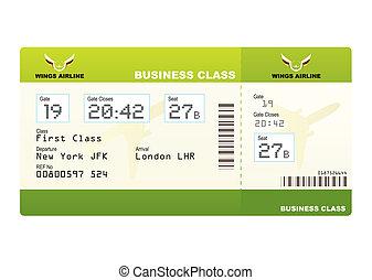 bilhetes, avião, verde, classe, negócio