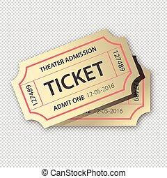 bilhetes, cinema, isolado, ilustração, dois, fundo, vetorial, par, transparente