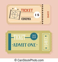 bilhetes, cinema, vindima, concept., vetorial, retro