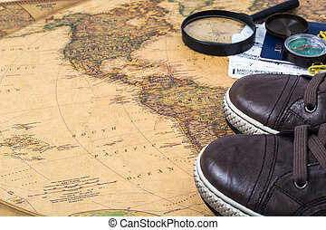 bilhetes, conceito, mapa, viagens, sneakers, mundo, passaporte
