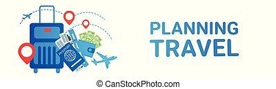 bilhetes, conceito, viagem, excursão, planificação, mala, feriado, bandeira, rota, transporte