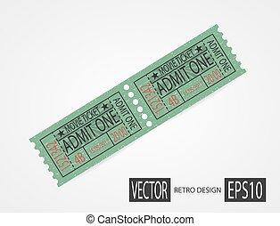 bilhetes, desenho, verde, retro, cinema