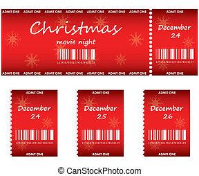 bilhetes, especiais, natal, vermelho