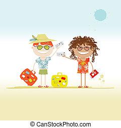 bilhetes, malas, seu, desenho, turistas, feliz