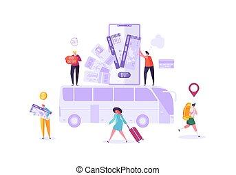 bilhetes, mulher, pessoas, autocarro, planificação, travel., ilustração, vetorial, reserva, caráteres, online, usando, feriado, smartphone., homem