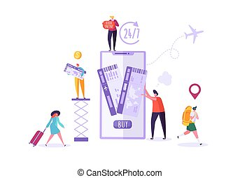 bilhetes, mulher, pessoas, avião, travel., ilustração, ar, planificação, vetorial, reserva, caráteres, online, usando, feriado, smartphone., homem