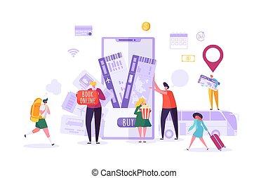 bilhetes, mulher, pessoas, avião, travel., ilustração, planificação, vetorial, reserva, caráteres, online, usando, feriado, smartphone., homem