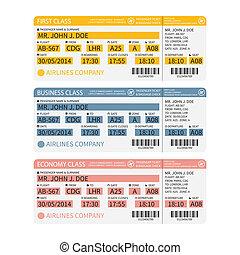 bilhetes, passageiro, barcode., ), (, bagagem, vetorial, linha aérea, cartão embarque