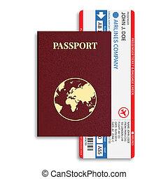 bilhetes, passageiro, ), (, barcode, bagagem, vetorial, linha aérea, cartão embarque, internacional, passport.