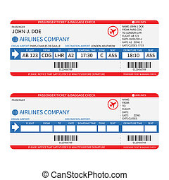 bilhetes, passageiro, barcode., ), (, bagagem, vetorial, ...