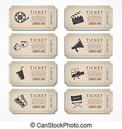 bilhetes, retro, cinema