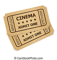 bilhetes, retro, dois, cinema