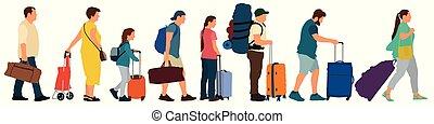 bilhetes, torcida, pessoas, muitos, ilustração, turistas, fila, vetorial, inscreva-se, suitcases., aeroporto., station., linha, levantar