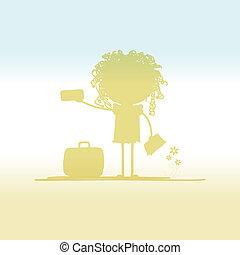 bilhetes, turista, desenho, mala, seu, feliz