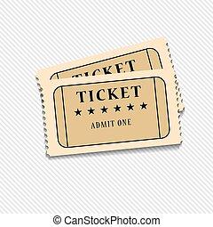 bilhetes, vetorial, cinema, fundo, retro, branca