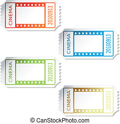 bilhetes, vetorial, cinema