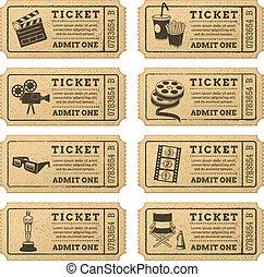 bilhetes, vetorial, grunge, cinema